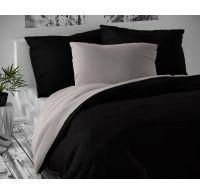 Saténové francúzske obliečky LUXURY COLLECTION čierne / svetlo sivé 1 + 2, 220x200, 70x90cm