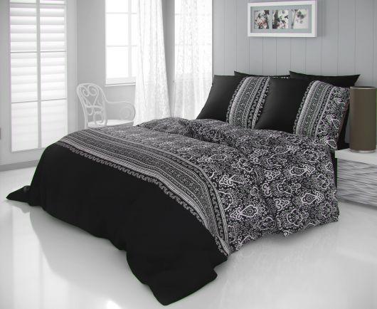 Saténové francúzske obliečky LUXURY COLLECTION 1 + 2, 220x200, 70x90cm NOBEL čiernobiely