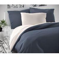 Saténové francúzske obliečky LUXURY COLLECTION tmavo sivé / biele 1 + 2, 220x200, 70x90cm