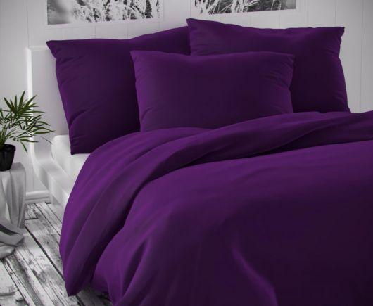 Saténové francúzske obliečky LUXURY COLLECTION tmavo fialové 1 + 2, 220x200, 70x90cm