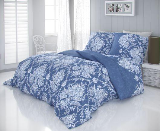 Saténové francúzske obliečky LUXURY COLLECTION 1+2, 220x200, 70x90cm VINTAGE modrá