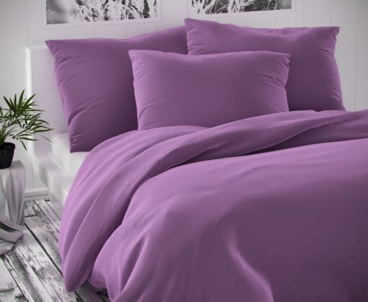 Saténové francúzske obliečky LUXURY COLLECTION fialové 1 + 2, 240x200, 70x90cm