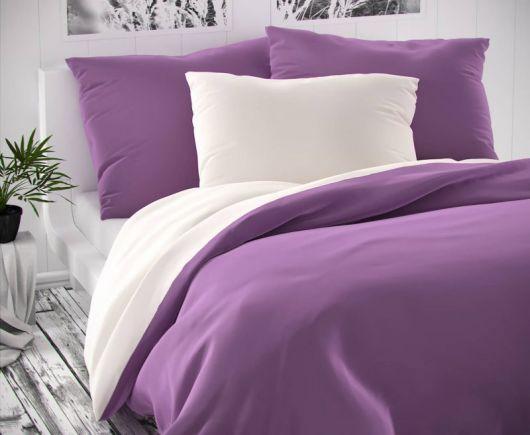 Saténové francúzske predĺžené obliečky LUXURY COLLECTION biele / fialové 1 + 2, 240x220, 70x90cm
