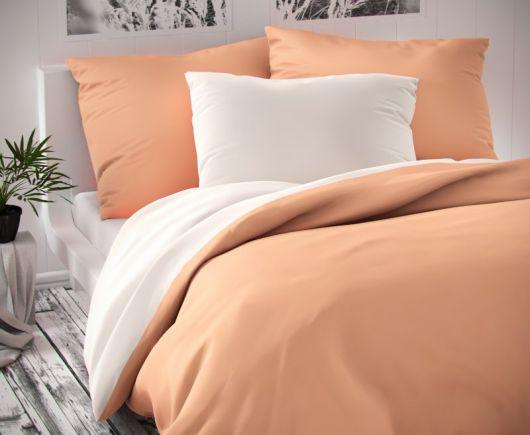 Saténové francúzske predĺžené obliečky LUXURY COLLECTION biele / lososové 1 + 2, 240x220, 70x90cm