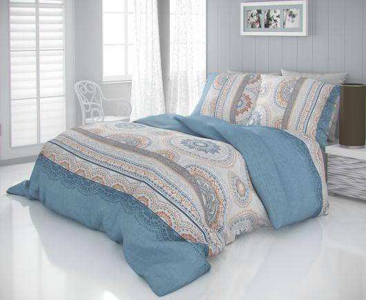 Saténové francúzske predĺžené obliečky LUXURY COLLECTION 1 + 2, 240x220, 70x90cm CARMELA modrá