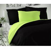 Saténové francúzske predĺžené obliečky LUXURY COLLECTION čierne / svetlo zelené 1 + 2, 240x220, 70x90cm