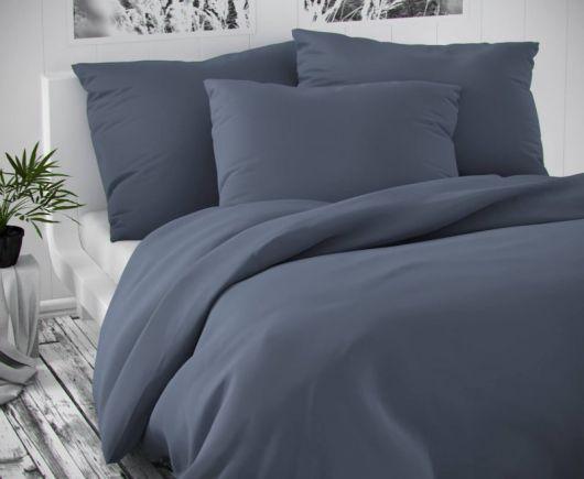 Saténové francúzske predĺžené obliečky LUXURY COLLECTION tmavo sivé 1 + 2, 240x220, 70x90cm