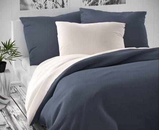 Saténové francúzske predĺžené obliečky LUXURY COLLECTION tmavo sivé / biele 1 + 2, 240x220, 70x90cm