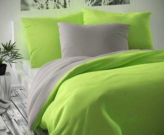 Saténové francúzske predĺžené obliečky LUXURY COLLECTION svetlo sivvé / svetlo zelené 1 + 2, 240x220, 70x90cm