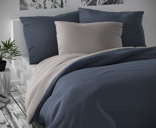 Saténové francúzske predĺžené obliečky LUXURY COLLECTION tmavo sivé / svetlo sivé 1 + 2, 240x220, 70x90cm