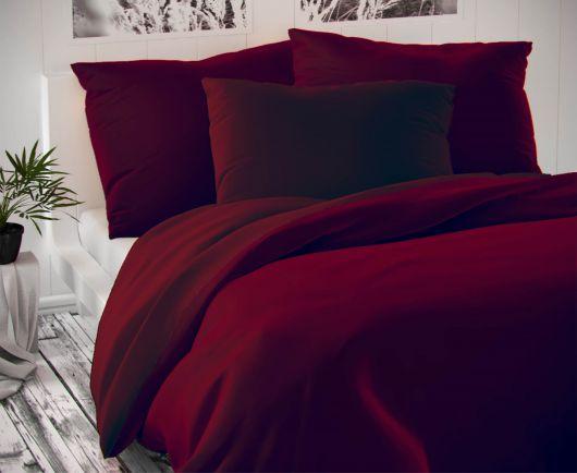 Saténové francúzske predĺžené obliečky LUXURY COLLECTION bordó 1 + 2, 240x220, 70x90cm