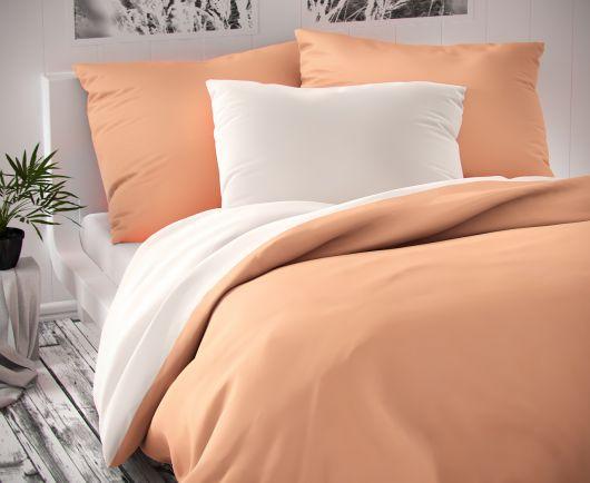 Saténové postel'né obliečky LUXURY COLLECTION biele / lososové 140x200, 70x90cm