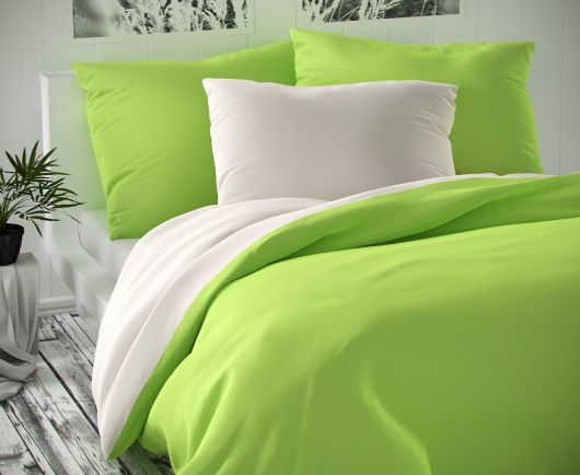 Saténové postel'né obliečky LUXURY COLLECTION biele / svetlo zelené 140x200, 70x90cm