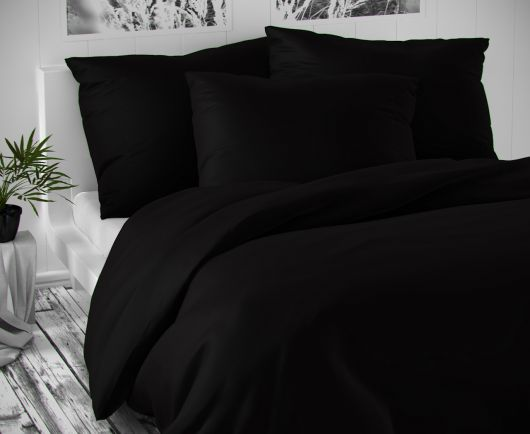 Saténové postel'né obliečky LUXURY COLLECTION čierne 140x200, 70x90cm