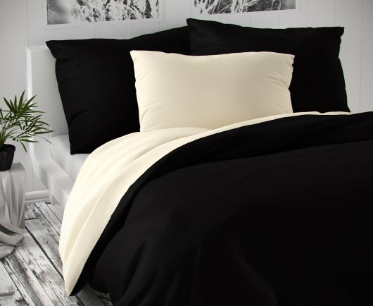 Saténové obliečky LUXURY COLLECTION čierne / smotanové 140x200, 70x90cm