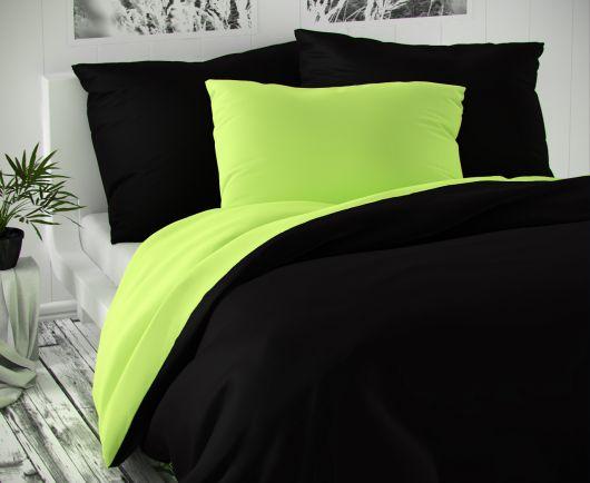 Saténové postel'né obliečky LUXURY COLLECTION čierne / svetlo zelené 140x200, 70x90cm