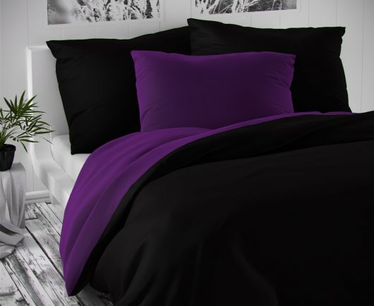 Saténové postel'né obliečky LUXURY COLLECTION čierne / tmavo fialove 140x200, 70x90cm