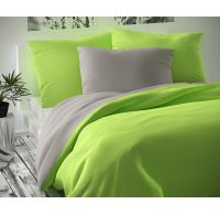 Saténové postel'né obliečky Luxury Collection 140x200, 70x90cm svetlo sive/ svetlo zelené