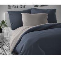 Saténové postel'né obliečky LUXURY COLLECTION tmavo sivé / svetlo sivé 140x200, 70x90cm