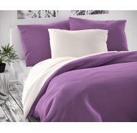 Saténové predľžené posteľné obliečky LUXURY COLLECTION biele / fialové 140x220, 70x90cm