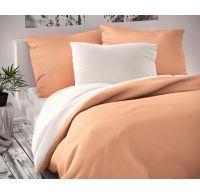 Saténové predľžené posteľné obliečky LUXURY COLLECTION biele / lososové 140x220, 70x90cm