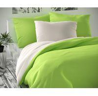 Saténové predľžené posteľné obliečky LUXURY COLLECTION biele / svetlo zelené 140x220, 70x90cm
