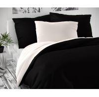 Saténové predľžené postel'né obliečky LUXURY COLLECTION čierne / biele 140x220, 70x90cm