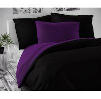 Saténové predľžené posteľné obliečky LUXURY COLLECTION čierne / tmavo fialove 140x220, 70x90cm