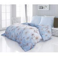 Saténové predľžené posteľné obliečky Luxury Collection LOOP modré 140x220, 70x90cm