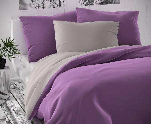 Saténové predľžené posteľé obliečky LUXURY COLLECTION svetlo sive / fialové 140x220, 70x90cm