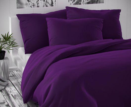 Saténové predĺžené postelné obliečk LUXURY COLLECTION tmavo fialové 140x220, 70x90cm