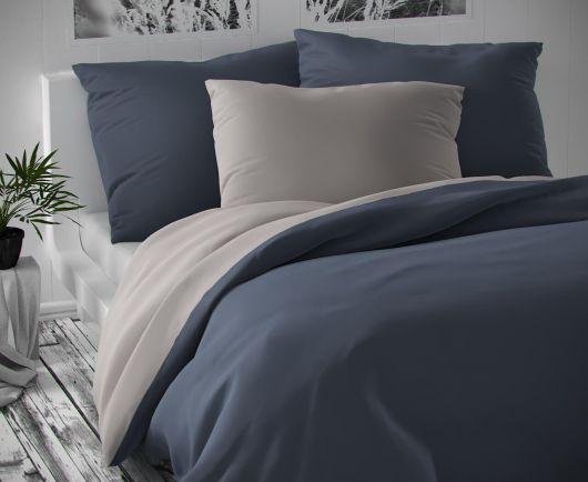 Saténové predľžené posteľné obliečky LUXURY COLLECTION tmavo sivé / svetlo sivé 140x220, 70x90cm
