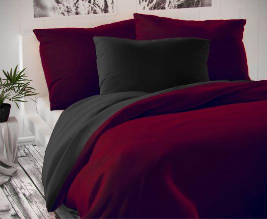 Saténové predĺžené obliečky LUXURY COLLECTION bordó / čierne 140x220, 70x90cm