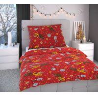 Vianočné obliečky 140x200, 70x90cm SNEHULIACI červení