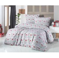 Vianočné obliečky 140x200, 70x90cm VLOČKY červenosivé