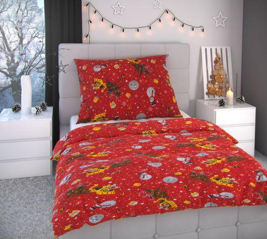 Vianočné obliečky 220x200, 70x90cm SNEHULIACI červení